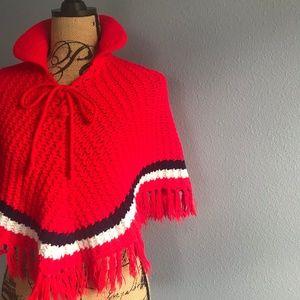 Vintage Crochet Fringe Poncho